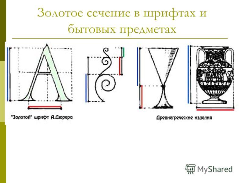 Золотое сечение в шрифтах и бытовых предметах