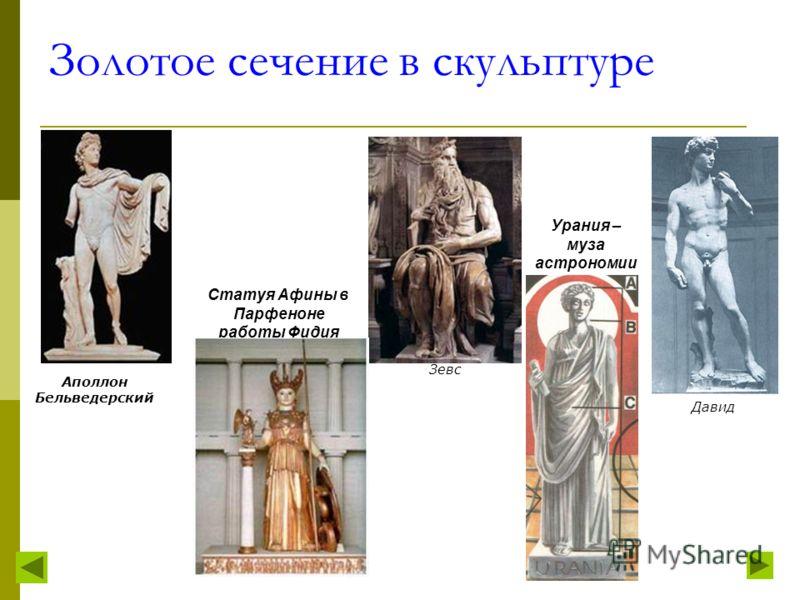 Золотое сечение в изобразительном искусстве Особый вид изобразительного искусства Древней Греции следует выделить изготовление и роспись всевозможных сосудов. В изящной форме легко угадываются пропорции золотого сечения. Перед вами канон изображения