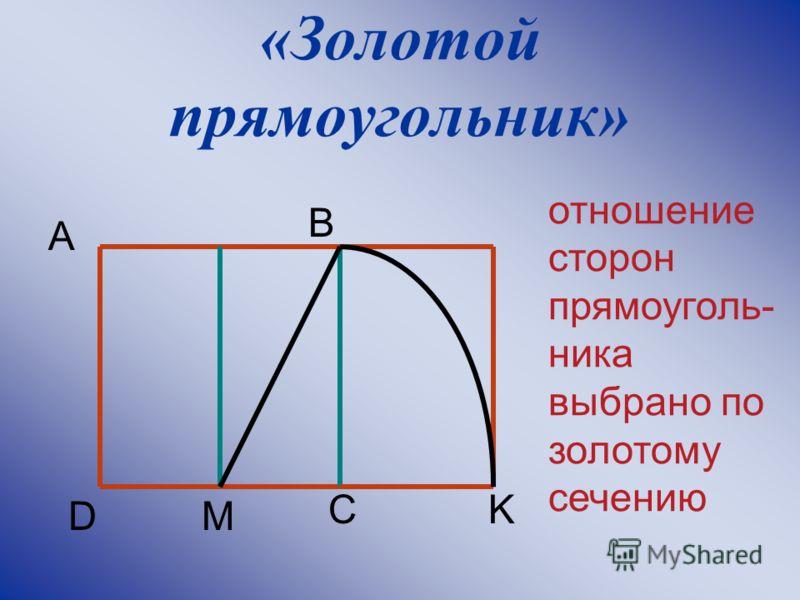 «Золотой прямоугольник» A B K MD C отношение сторон прямоуголь- ника выбрано по золотому сечению