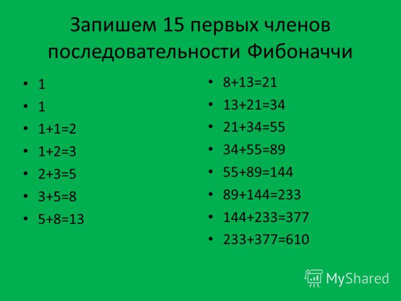 Запишем 15 первых членов последовательности Фибоначчи 1 1 1+1=2 1+2=3 2+3=5 3+5=8 5+8=13 8+13=21 13+21=34 21+34=55 34+55=89 55+89=144 89+144=233 144+233=377 233+377=610