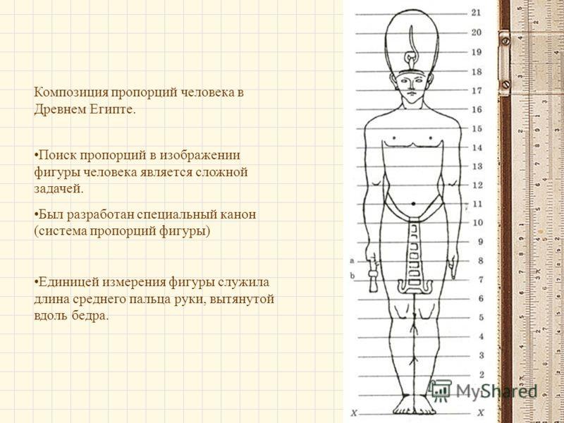 Композиция пропорций человека в Древнем Египте. Поиск пропорций в изображении фигуры человека является сложной задачей. Был разработан специальный канон (система пропорций фигуры) Единицей измерения фигуры служила длина среднего пальца руки, вытянуто