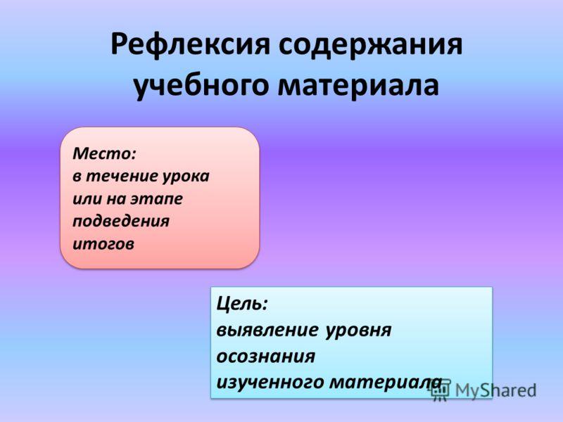 Рефлексия содержания учебного материала Место: в течение урока или на этапе подведения итогов Цель: выявление уровня осознания изученного материала Цель: выявление уровня осознания изученного материала
