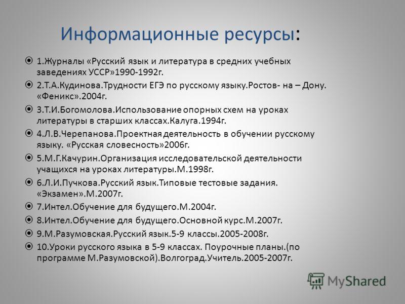 Журналы «Русский язык и
