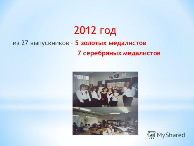 2012 год из 27 выпускников – 5 золотых медалистов 7 серебряных медалистов