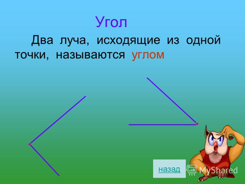 Угол Два луча, исходящие из одной точки, называются углом назад