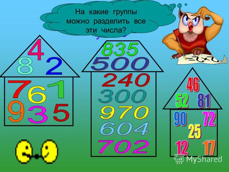 Считаем устно Какие фигуры вы видите на слайде? На какие группы можно разделить все эти числа?