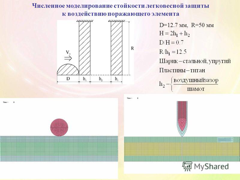 Численное моделирование стойкости легковесной защиты к воздействию поражающего элемента D=12.7 мм, R=50 мм