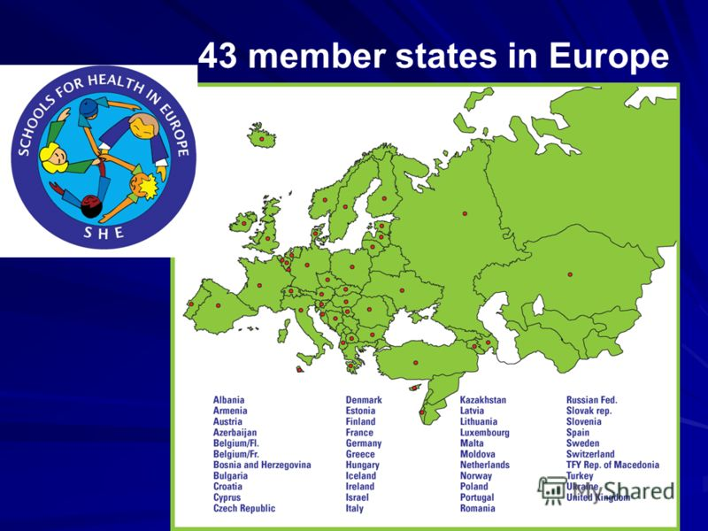 43 member states in Europe