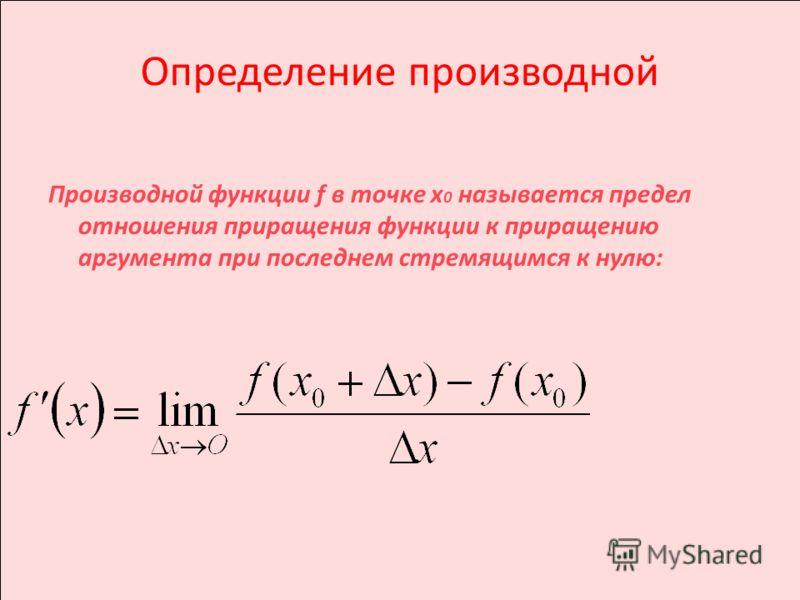 Определение производной Производной функции f в точке х 0 называется предел отношения приращения функции к приращению аргумента при последнем стремящимся к нулю: