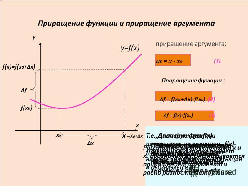 =x 0 +x Приращение функции и приращение аргумента y=f(x) x0x0 f(x)=f(x 0 +x) f(x 0 ) x f приращение аргумента: x y х = х - х 0 (1) Приращение функции : f = f(x 0 +x)-f(x 0 ) (2) f = f(x)-f(x 0 ) (3) x В окрестности точки х 0 возьмём точку х Пусть х 0