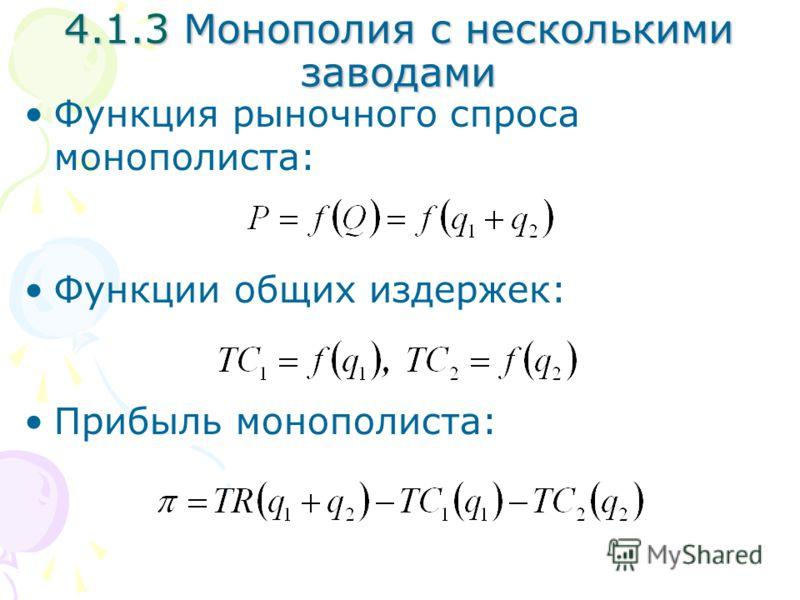 Функция рыночного спроса монополиста: Функции общих издержек: Прибыль монополиста: 4.1.3 Монополия с несколькими заводами
