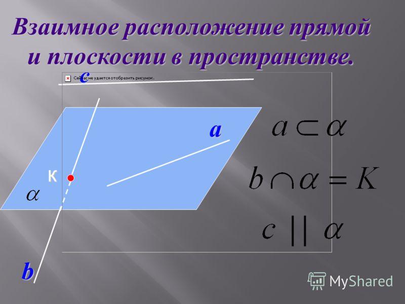 a с Взаимное расположение прямой и плоскости в пространстве. b К