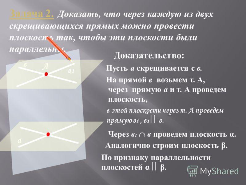 Задача 2. Доказать, что через каждую из двух скрещивающихся прямых можно провести плоскость так, чтобы эти плоскости были параллельны. а в Пусть а скрещивается с в. Доказательство: На прямой в возьмем т. А, А через прямую а и т. А проведем плоскость,