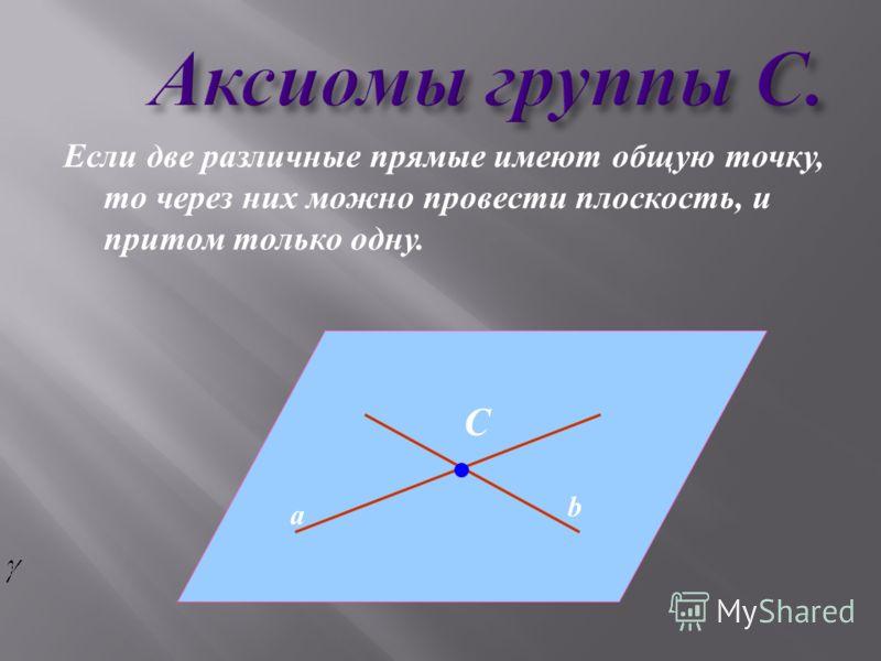 Аксиомы группы С. Аксиомы группы С. Если две различные прямые имеют общую точку, то через них можно провести плоскость, и притом только одну. a b С