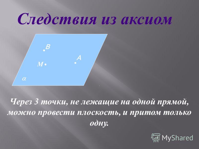 Через 3 точки, не лежащие на одной прямой, можно провести плоскость, и притом только одну. М А В Следствия из аксиом