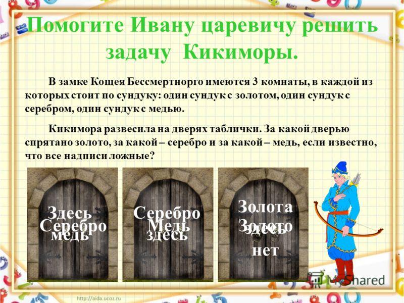 Помогите Ивану царевичу решить задачу Кикиморы. В замке Кощея Бессмертнорго имеются 3 комнаты, в каждой из которых стоит по сундуку: один сундук с золотом, один сундук с серебром, один сундук с медью. Кикимора развесила на дверях таблички. За какой д