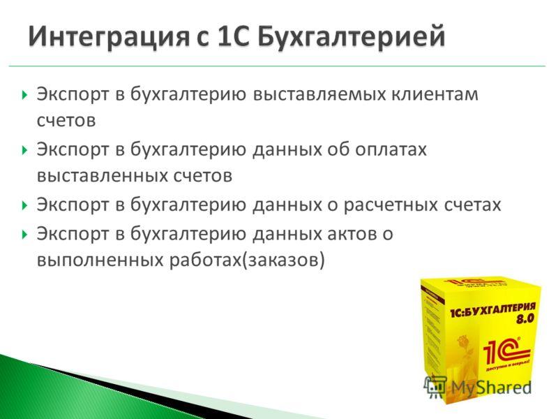 Экспорт в бухгалтерию выставляемых клиентам счетов Экспорт в бухгалтерию данных об оплатах выставленных счетов Экспорт в бухгалтерию данных о расчетных счетах Экспорт в бухгалтерию данных актов о выполненных работах(заказов)