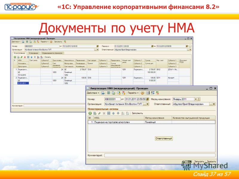 Слайд 37 из 57 «1С: Управление корпоративными финансами 8.2» Документы по учету НМА