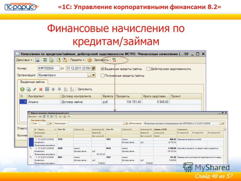 Слайд 48 из 57 «1С: Управление корпоративными финансами 8.2» Финансовые начисления по кредитам/займам