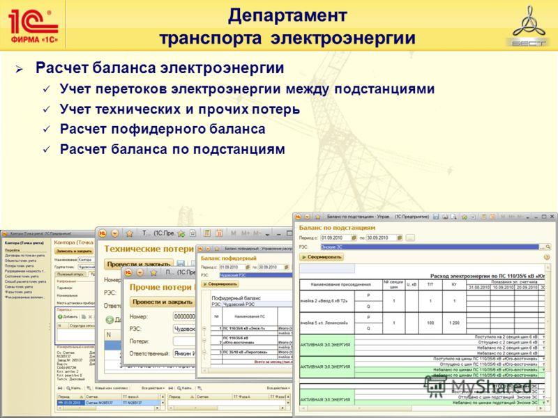 Департамент транспорта электроэнергии Расчет баланса электроэнергии Учет перетоков электроэнергии между подстанциями Учет технических и прочих потерь Расчет пофидерного баланса Расчет баланса по подстанциям