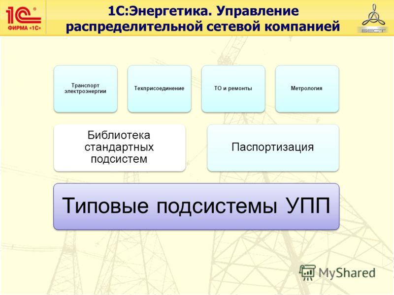 Транспорт электроэнергии ТехприсоединениеТО и ремонтыМетрология Библиотека стандартных подсистем Паспортизация Типовые подсистемы УПП 1С:Энергетика. Управление распределительной сетевой компанией