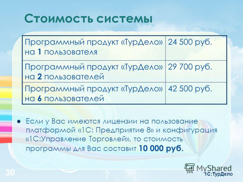 1С:ТурДело 30 Стоимость системы Программный продукт «ТурДело» на 1 пользователя 24 500 руб. Программный продукт «ТурДело» на 2 пользователей 29 700 руб. Программный продукт «ТурДело» на 6 пользователей 42 500 руб. Если у Вас имеются лицензии на польз