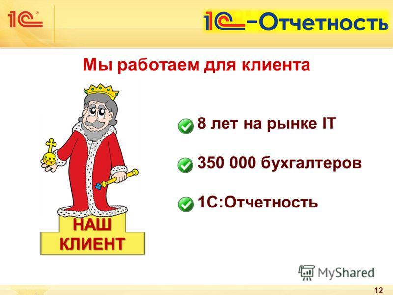 12 8 лет на рынке IT 350 000 бухгалтеров 1С:Отчетность НАШКЛИЕНТ Мы работаем для клиента