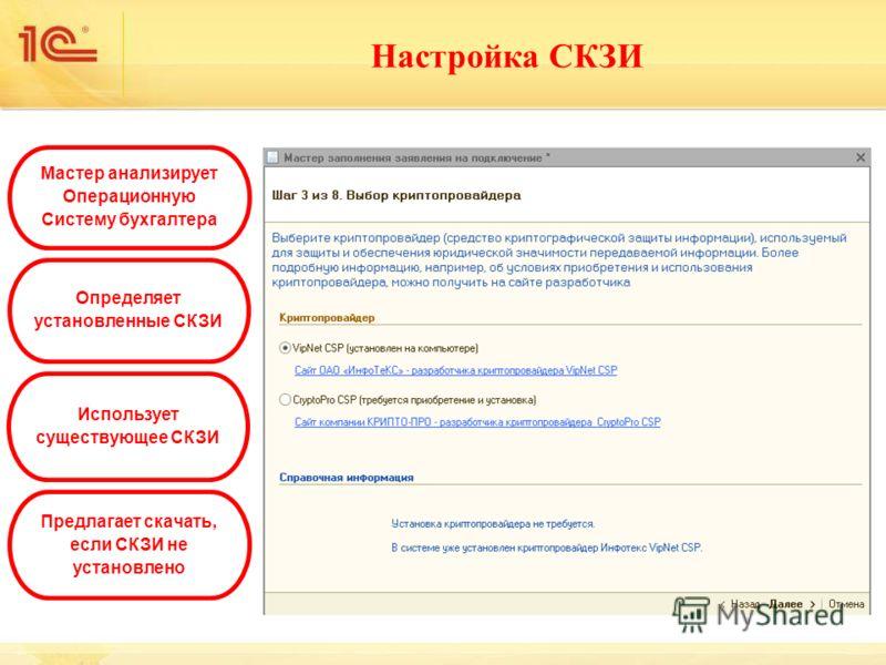 Настройка СКЗИ Мастер анализирует Операционную Систему бухгалтера Определяет установленные СКЗИ Использует существующее СКЗИ Предлагает скачать, если СКЗИ не установлено