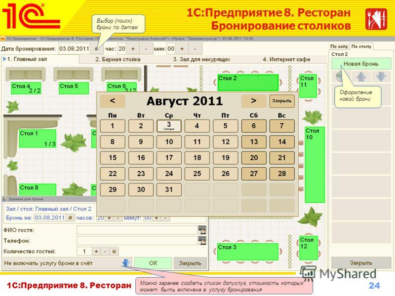 24 www.1c-menu.ru, Октябрь 2010 г. 1С:Предприятие 8. Ресторан Бронирование столиков Оформление новой брони Можно заранее создать список допуслуг, стоимость которых может быть включена в услугу бронирования Выбор (поиск) брони по датам
