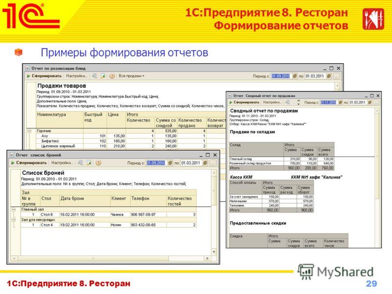 29 www.1c-menu.ru, Октябрь 2010 г. 1С:Предприятие 8. Ресторан Формирование отчетов Примеры формирования отчетов