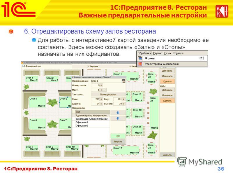 36 www.1c-menu.ru, Октябрь 2010 г. 1С:Предприятие 8. Ресторан 6. Отредактировать схему залов ресторана Для работы с интерактивной картой заведения необходимо ее составить. Здесь можно создавать «Залы» и «Столы», назначать на них официантов. 1С:Предпр