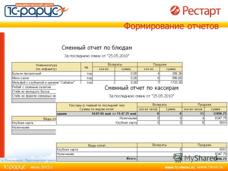 www.1c-menu.ru, Июль 2012 г. Слайд 27 из 30 г. Красноярск. Партнерский семинар. Формирование отчетов