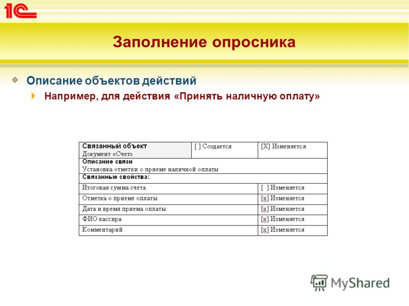 Заполнение опросника Описание объектов действий Например, для действия «Принять наличную оплату»