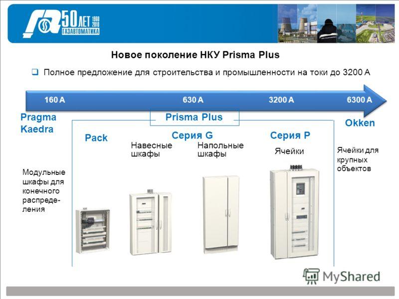 Новое поколение НКУ Prisma Plus Полное предложение для строительства и промышленности на токи до 3200 A 160 A 630 A 3200 A 6300 А Pack Навесные шкафы Напольные шкафы Ячейки Серия GСерия P Модульные шкафы для конечного распреде- ления Prisma Plus Ячей