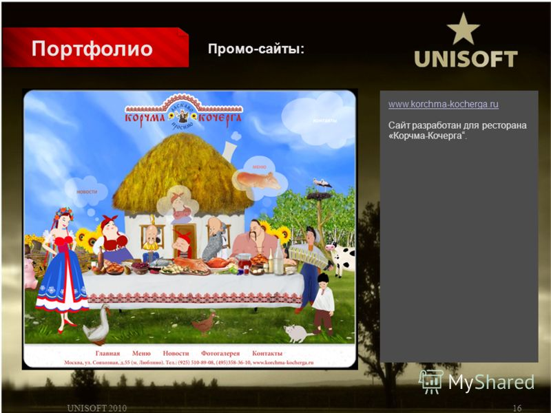 UNISOFT 201016 Портфолио www.korchma-kocherga.ru Сайт разработан для ресторана «Корчма-Кочерга. Промо-сайты: