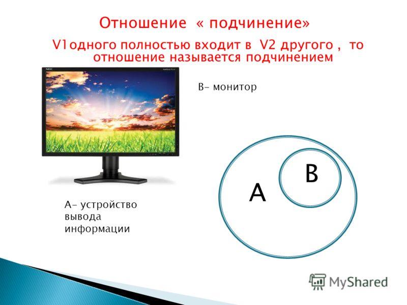 Отношение « подчинение» V1одного полностью входит в V2 другого, то отношение называется подчинением А А- устройство вывода информации В- монитор В