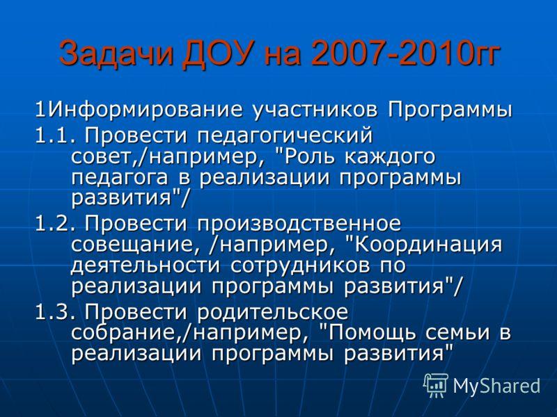Задачи ДОУ на 2007-2010гг 1Информирование участников Программы 1.1. Провести педагогический совет,/например,
