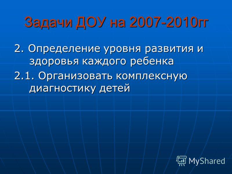 Задачи ДОУ на 2007-2010гг 2. Определение уровня развития и здоровья каждого ребенка 2.1. Организовать комплексную диагностику детей