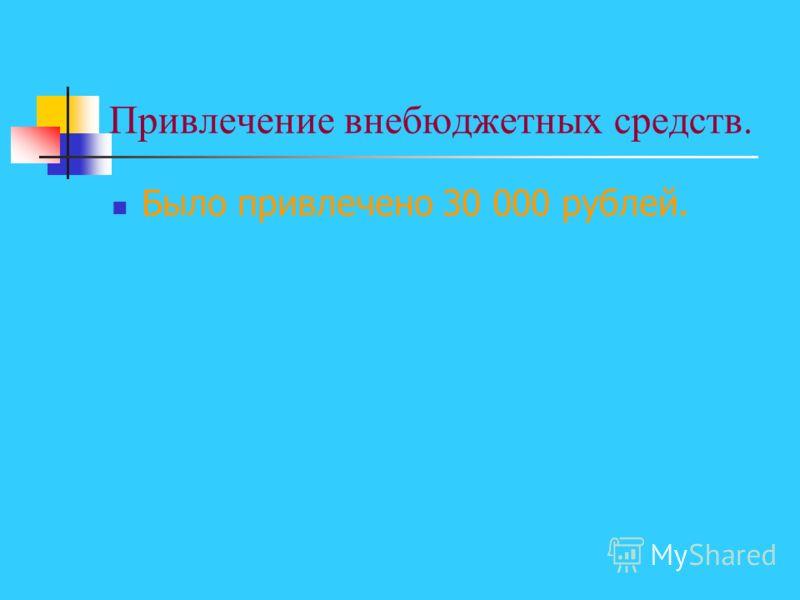 Привлечение внебюджетных средств. Было привлечено 30 000 рублей.