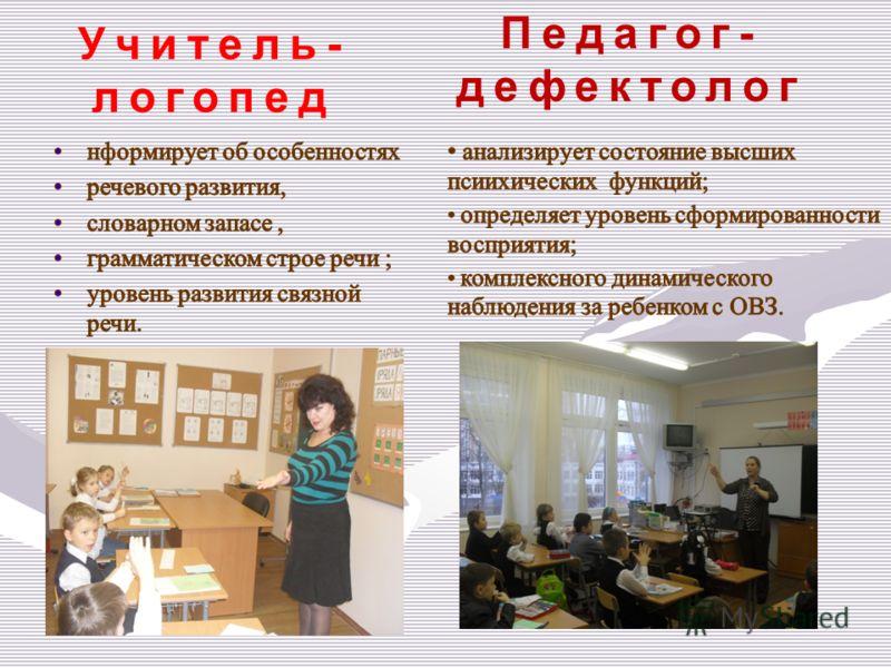Учитель- логопед Педагог- дефектолог