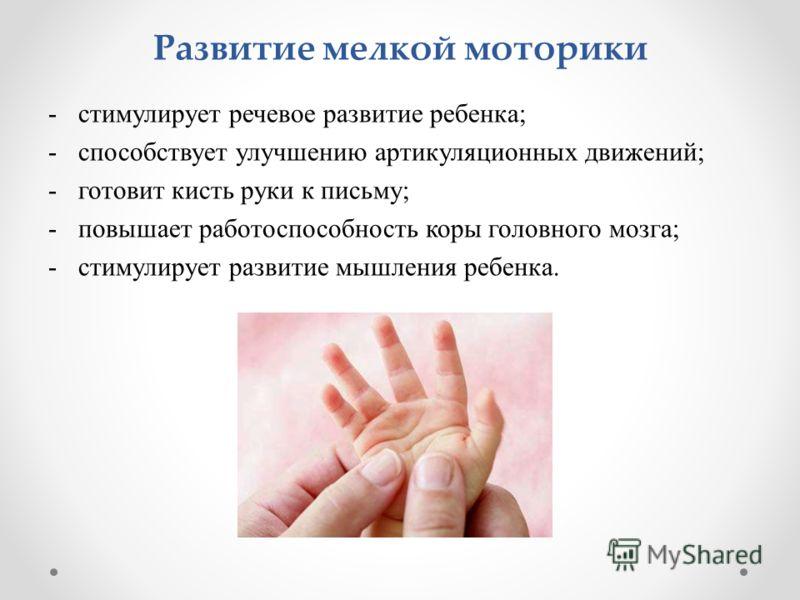 Развитие мелкой моторики -стимулирует речевое развитие ребенка; -способствует улучшению артикуляционных движений; -готовит кисть руки к письму; -повышает работоспособность коры головного мозга; -стимулирует развитие мышления ребенка.