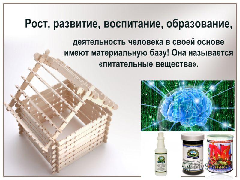 Рост, развитие, воспитание, образование, деятельность человека в своей основе имеют материальную базу! Она называется «питательные вещества».