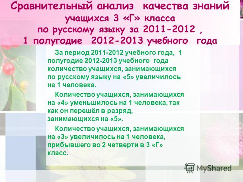 Сравнительный анализ качества знаний учащихся 3 «Г» класса по русскому языку за 2011-2012, 1 полугодие 2012-2013 учебного года За период 2011-2012 учебного года, 1 полугодие 2012-2013 учебного года количество учащихся, занимающихся по русскому языку