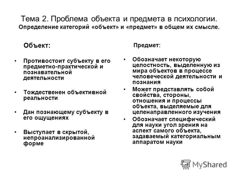 Тема 2. Проблема объекта и предмета в психологии. Определение категорий «объект» и «предмет» в общем их смысле. Объект: Противостоит субъекту в его предметно-практической и познавательной деятельности Тождественен объективной реальности Дан познающем