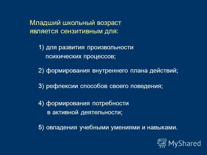 1)для развития произвольности психических процессов; Младший школьный возраст является сензитивным для: 2)формирования внутреннего плана действий; 3)рефлексии способов своего поведения; 4)формирования потребности в активной деятельности; 5)овладения