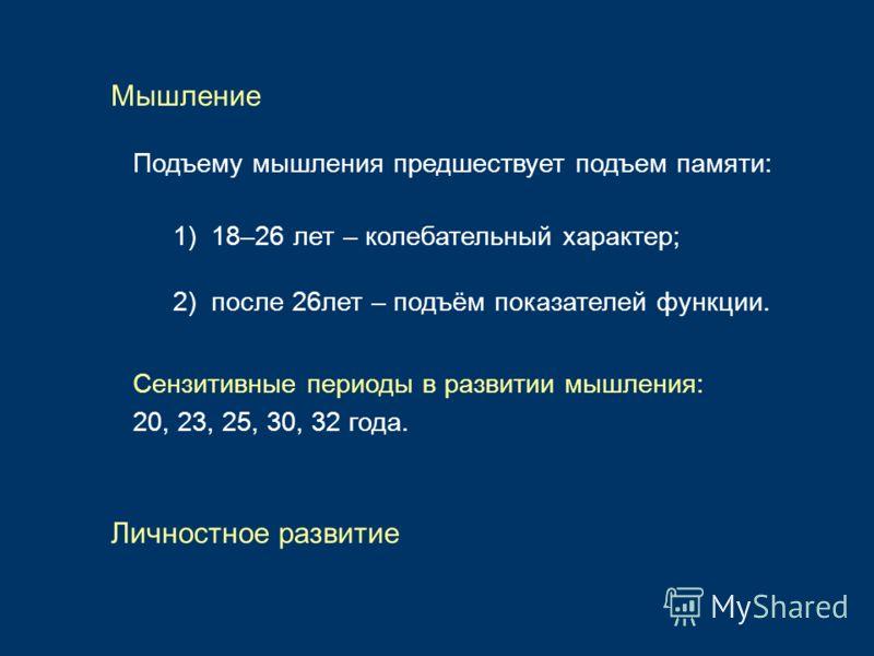 Подъему мышления предшествует подъем памяти: 1) 18–26 лет – колебательный характер; Мышление 2) после 26лет – подъём показателей функции. Сензитивные периоды в развитии мышления: 20, 23, 25, 30, 32 года. Личностное развитие