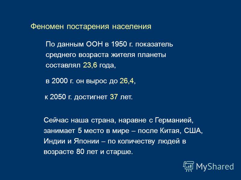 По данным ООН в 1950 г. показатель среднего возраста жителя планеты составлял 23,6 года, Феномен постарения населения в 2000 г. он вырос до 26,4, к 2050 г. достигнет 37 лет. Сейчас наша страна, наравне с Германией, занимает 5 место в мире – после Кит