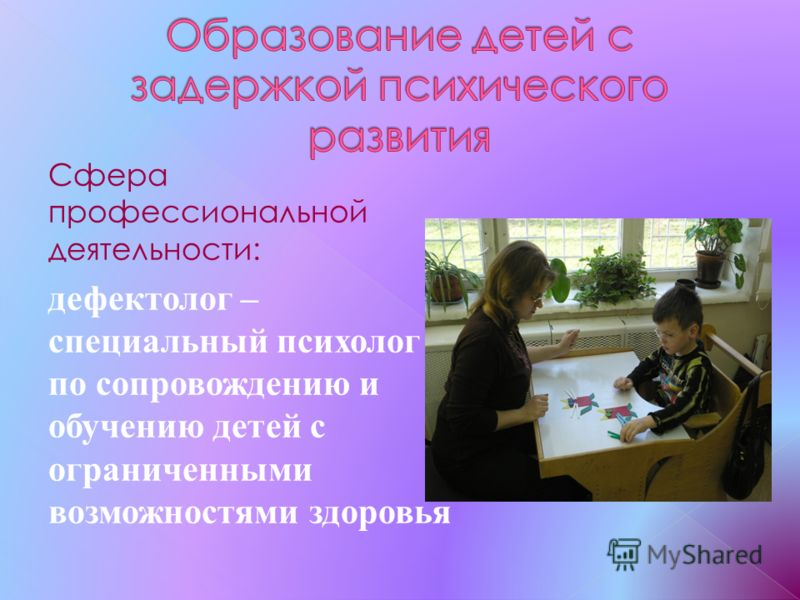 Сфера профессиональной деятельности: дефектолог – специальный психолог по сопровождению и обучению детей с ограниченными возможностями здоровья