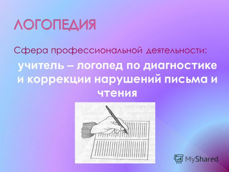 Сфера профессиональной деятельности: учитель – логопед по д иагностик е и коррекци и нарушений письма и чтения