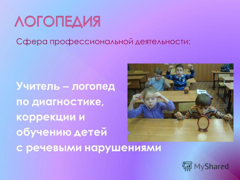 Сфера профессиональной деятельности: Учитель – логопед по д иагностик е, коррекци и и обучени ю детей с речевыми нарушениями